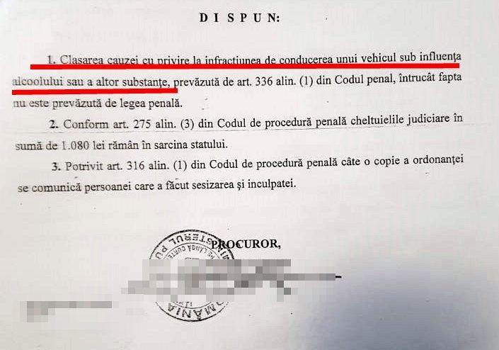 Foto: Extras din ultima rezoluție de clasare a cauzei privitoare la polițistă