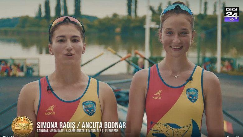 Simona Radiș și Ancuța Bodnar, medaliate la campionatele europene și mondiale de canotaj Foto: captură video Digi24