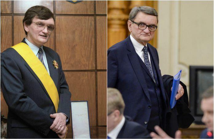 Victor Ciorbea, în 1996 și în 2019. Atunci, premier aclamat în Piața Universității, acum, politruc huiduit în Piața Victoriei. FOTO: Agerpres/Mediafax.