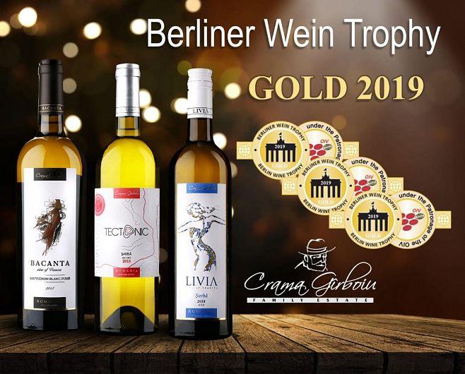 Trei vinuri românești produse de Crama Gîrboiu din județul Vrancea au reușit să obțină medalia de aur în cadrul concursului Berliner Wein Trophy 2019