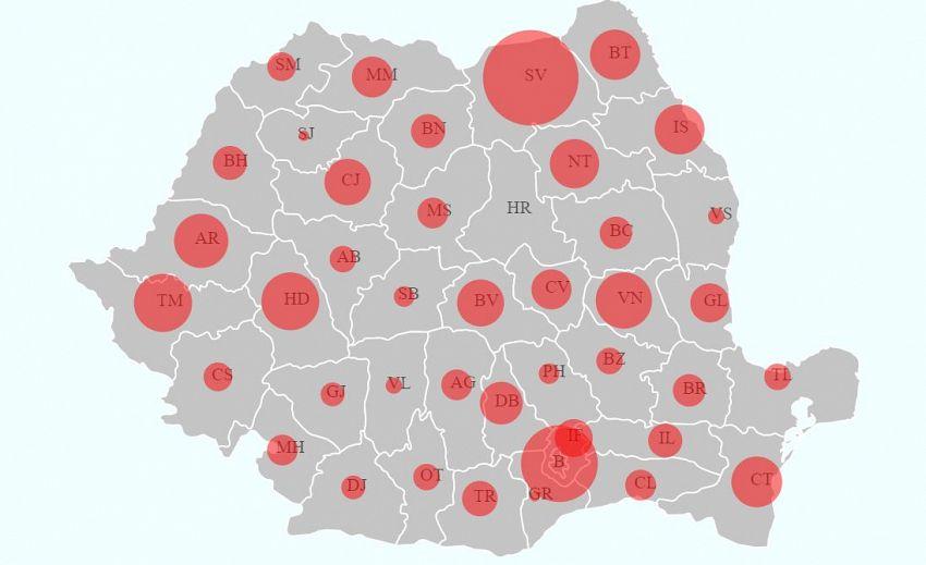 Situaţia infecțiilor cu noul coronavirus (COVID-19) în judeţele din România pe 1.04.2020. Sursa foto: covid19ro.org/