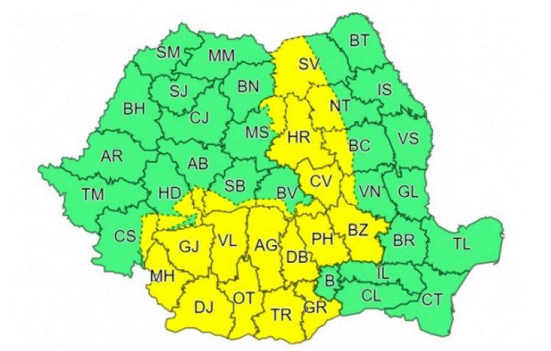 Cod galben de ploi torențiale, vijelii și grindină în jumătate din țară