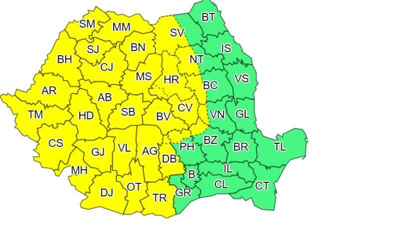 Zona De Munte A Județului Vrancea E Harta Codului Galben De